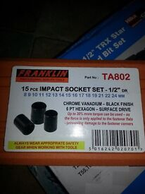 "15 PIECE IMPACT SOCKET SET 1/2"" DRIVE BY FRANKLIN.....BRAND NEW"