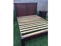Great solid wood king size bed frame with matching bedside cabinet, vgc
