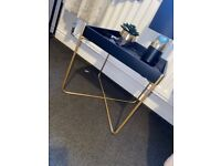 Black and gold side table and lamp