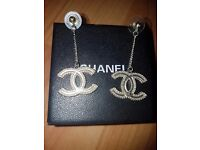 NEW CC Chanel Silver Earrings in box - AMAZING