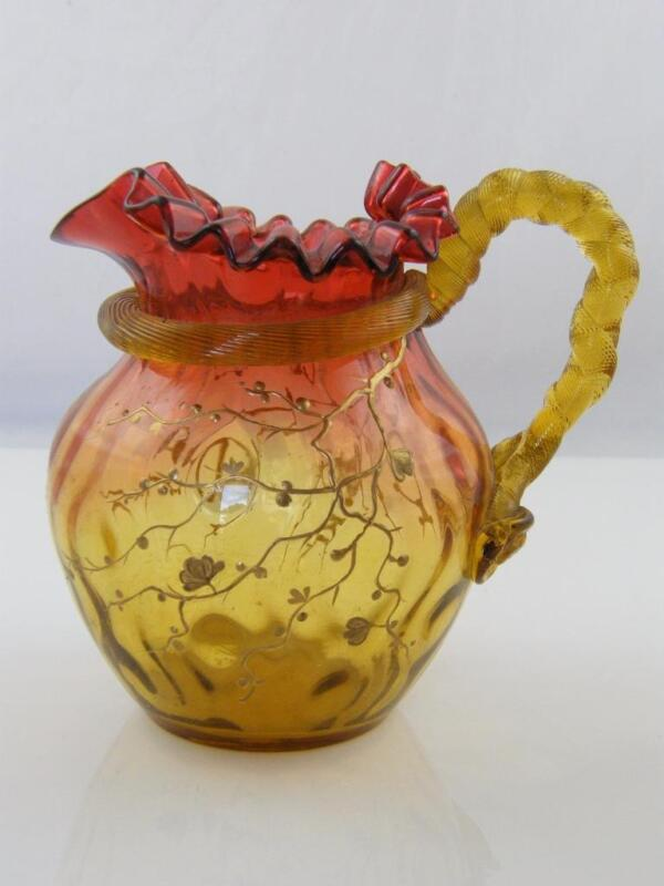 19TH CENTURY GILDED AMBERINA GLASS JUG