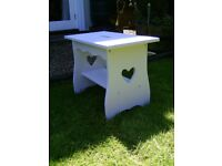 Wooden stool / table with carved hearts