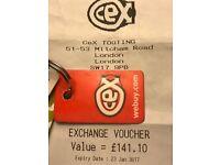 CEX exchange voucher £141