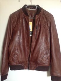 Brown retro bomber leather jacket size small