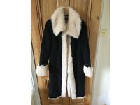 M&S Twiggy sheep skin fake fur lined coat