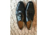 Mens black leather shoes, size nine and a half