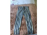 Stripy Blue and White Cropped Fashion Jeans