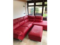 Very comfy red leather corner sofa, will do someone a turn has cat scratches on it but it is free