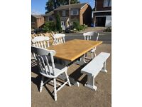 Shabby Chic Table and Four chairs plus matching two seater Bench
