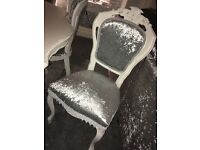 French Style, Louis Style, Vintage Style, Crushed Velvet, Dining Table & 6 ChairS