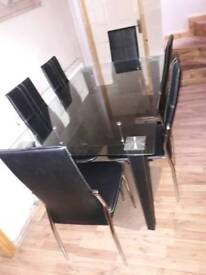 Glass table with shelf and 6 high back chair