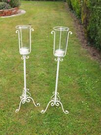Candle Holders (Sconces), Pair, Cream Wrought Metal Stands with Glass Candle Holders