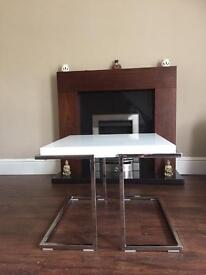 White and chrome side table