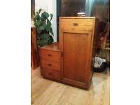 antique retro children's wooden wardrobe