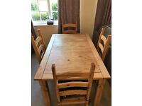 5ft x 3ft Solid Pine Table and four chairs