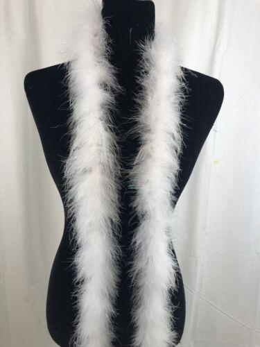 White w/Tinsel 18 Gram Marabou Feather Boa, 2 Yard-Long Dancing Wedding Crafting