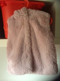 NEXT GIRLS GILET SIZE 6-9 MONTHS PINK WITH LITTLE BUNNY EARS ON HOOD