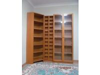 IKEA Bookcase Billy with glass doors, 2 CD or DVD shelving units and corner element