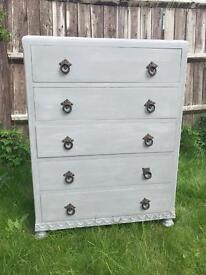Up Cycled Antique Solid Oak Chest of Drawers (Can Deliver)