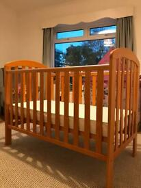 Obaby Lily Pine Cot and Pocket Sprung Mattress