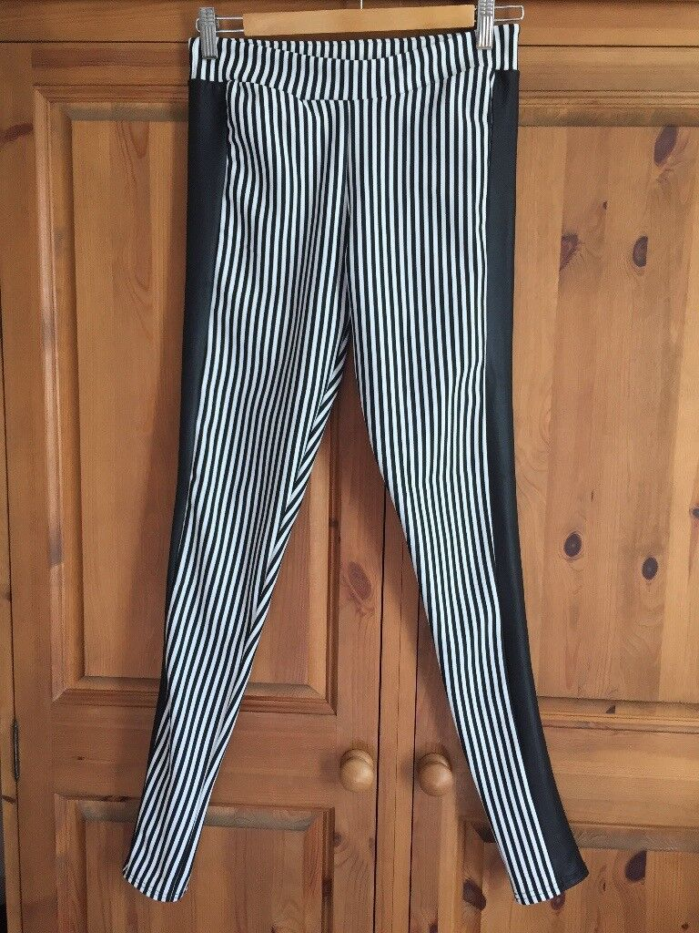 Women's Misguided striped leggings, size 10
