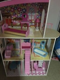 Very large dolls house with loads furniture gc