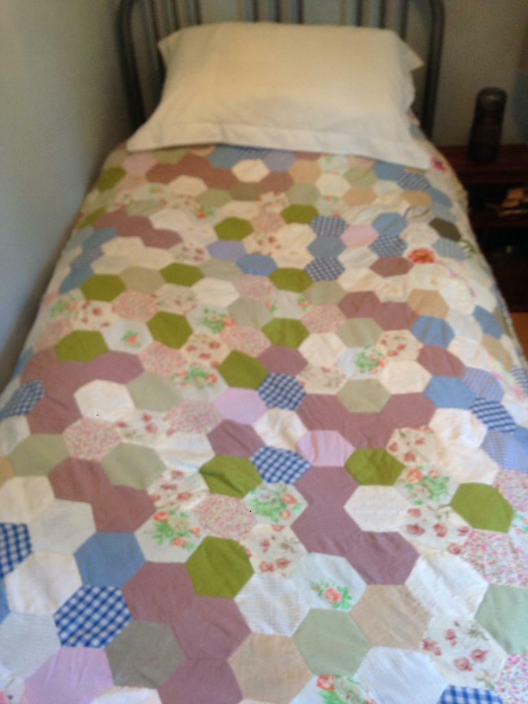 Handmade shabby chic cottage bed quilt cover