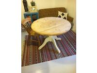 Round solid pine dining table