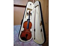 Violin (full size) with bow, resin and case