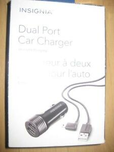 Insignia Dual USB Universal Car Charger with Mini USB Cable for GPS Navigator. Fast Charger. Samsung Galaxy Smart Phone