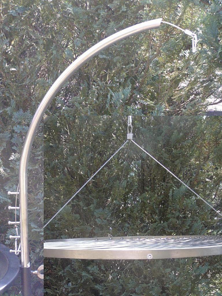 Grillgalgen & Edelstahl Grillrost 70 cm für Schwenkgrill Feuerschale Dreibein B