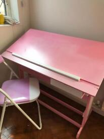 Almost FREE Pink adjustable desk with folding chair