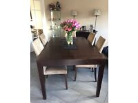 BEAUTIFUL wide size extending dining table. NO CHAIRS. can seat up to 10. Heavy quality wood.
