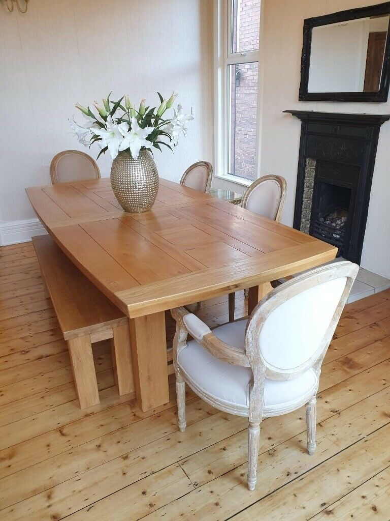 1ab76b5161 Solid Oak Dining Table + Bench, Heavy Extending Rectangle 6 - 10 Seater  PAID £1500