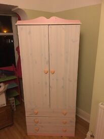 Girls Double Wardrobe, Drawer, Bedside Set - Pink/White - Ex Condition - Lots of Storage Space