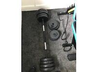 weight bench, dumbbells 30kg