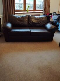Brown leather two seater