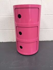 Hygena 3 Tier Pink Storage Unit With Sliding Door Ready Built