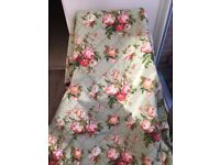 Vintage Green / Pink / Red Floral Double Eiderdown/Bedspread/Throw