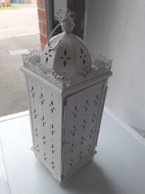 Large white decorative candle holder