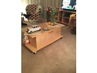 Beech lounge table/ unit with drawer
