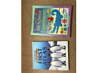 2 lovely children books - science experiments and atlas