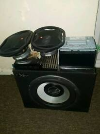 mplifier and bass box and pioneer DVD stereo
