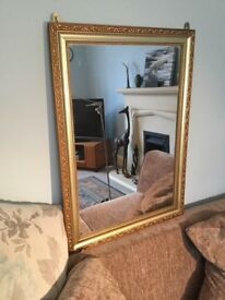 Gold Coloured Framed Mirror Height 26.5in/67cm Width 19in/48cm