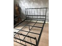 King size metal bed frame with mattress