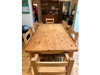 Kitchen table and chairs solid pine