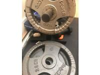 """Various Olympic weight plates cast iron 2"""" 1.25kg to 20kg"""