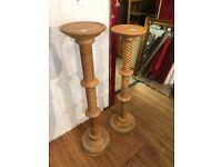 Pine column pedestals , lovely carved detail