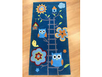 Blue Childrens Kids Owl Birl Ladder Bedroom Rug