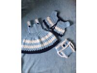 Handmade crochet baby girl 3-6 months dress set
